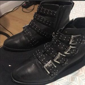 Rebecca Minkoff silver buckled booties